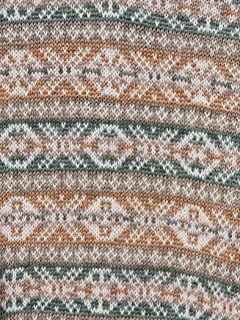 Linen Coton Fair Isle V-neck Sweater 11-15-0817-048: Green