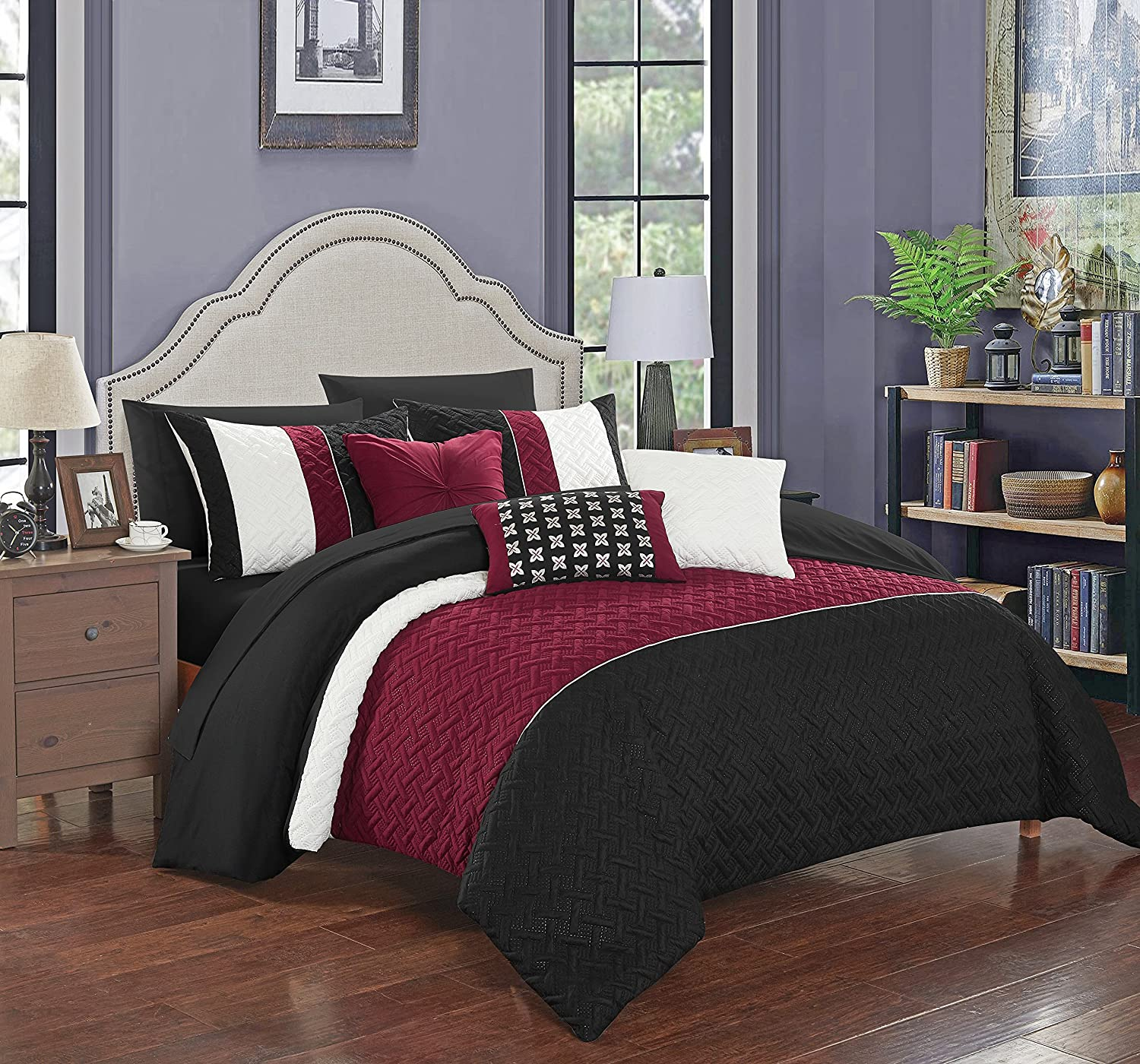 Chic Home Osnat 10 Piece Comforter Set Color Block Quilted Embroidered Design Bed in a Bag Bedding – Sheets Decorative Pillows Shams Included King Black