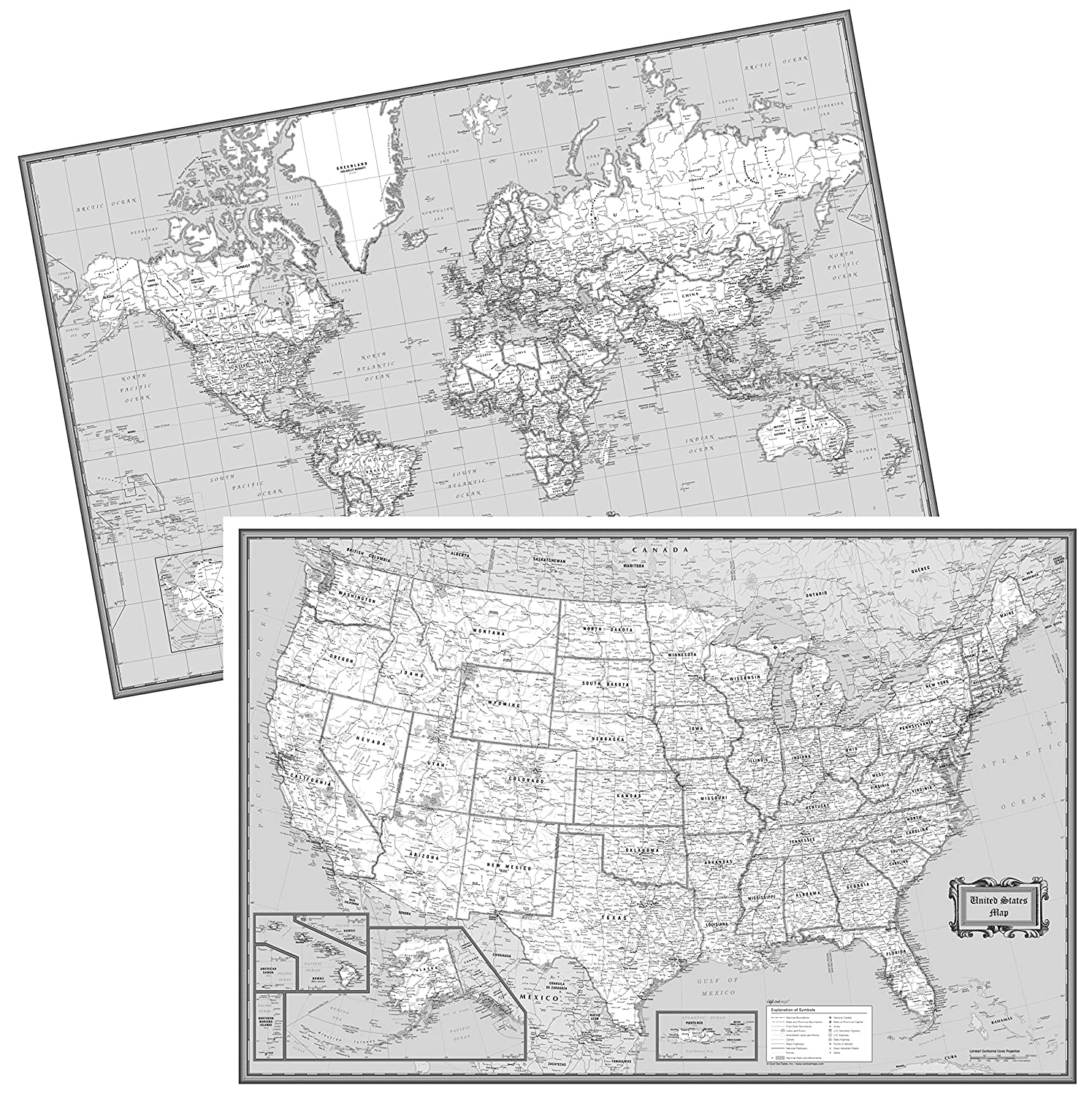 Amazoncom CoolOwlMaps United States World Wall Maps Black - Black and white us map with states