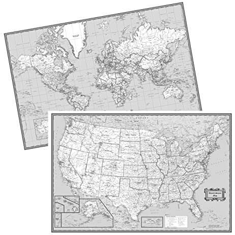 Amazoncom CoolOwlMaps United States World Wall Maps Black - Map united states black and white