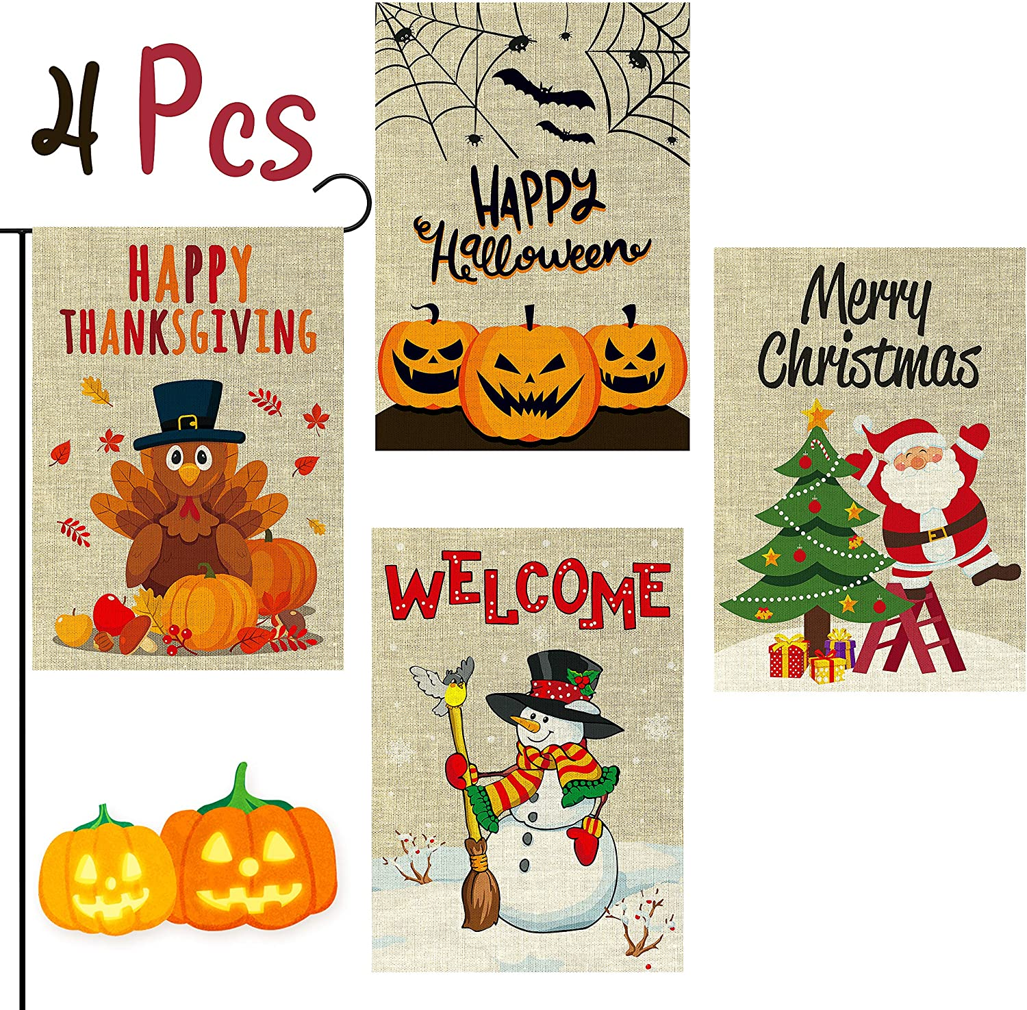 WATINC 4Pcs Garden Flag Happy Halloween Thanksgiving Merry Christmas Welcome Fall Winter Holiday Decorations Pumpkins Turkey Santa Snowman Double Sided Burlap House Flags for Home 12.4 x 18.3 Inch