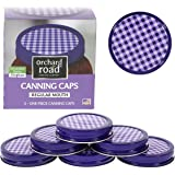 Mason Jar Lids - Decorative Canning Caps Fit Regular Mouth Mason Jars - Gingham Design - Pack of 6