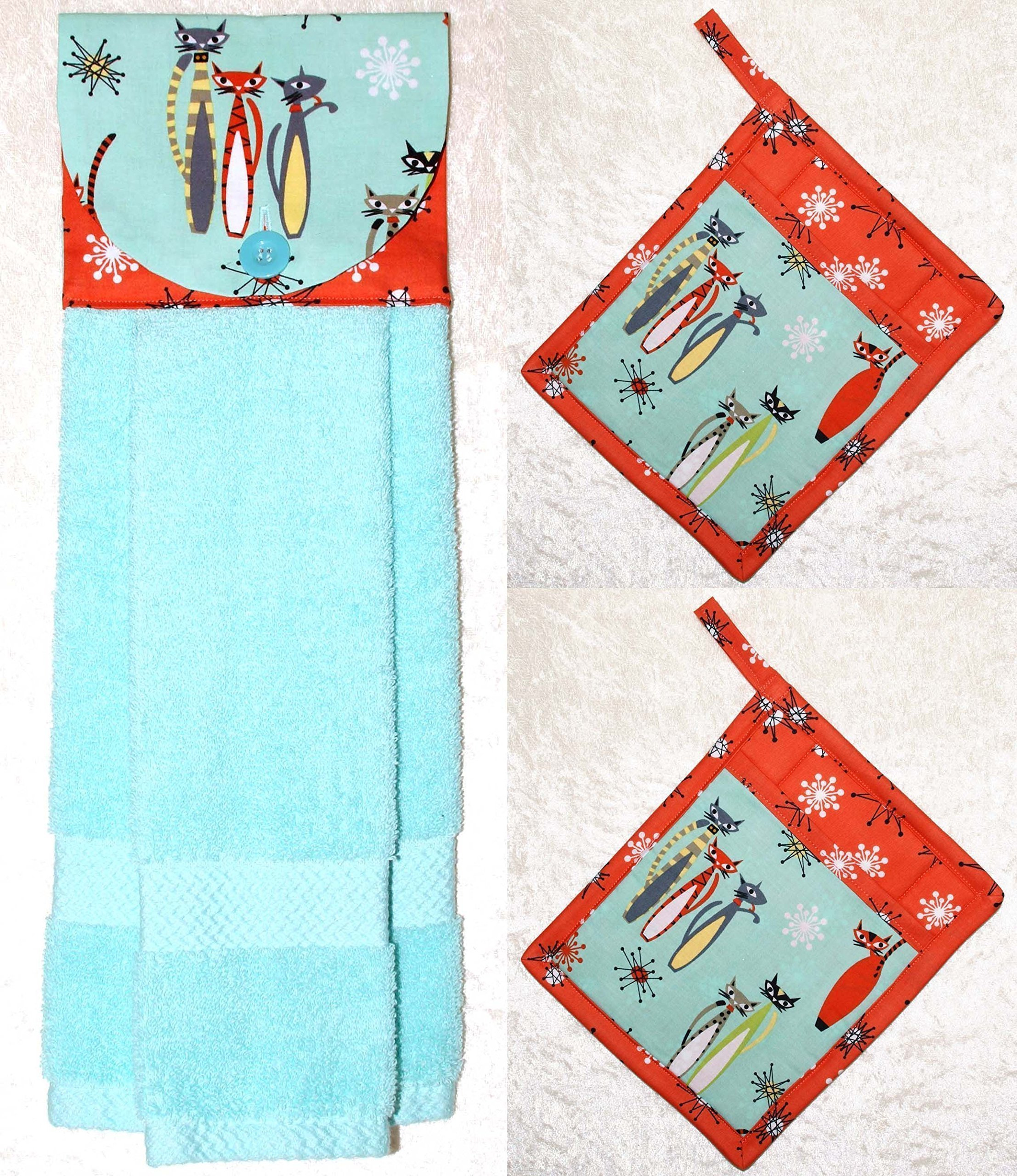 3 Piece Set - 1 Hanging Hand Towel - 2 Potholders - Retro Cats - Cosmic Starbursts - Aqua & Coral by Green Acorn Kitchen