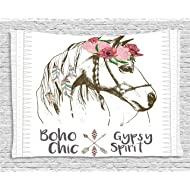 Ambesonne Animal Tapestry by, Boho Horse Head Sketch with Flowers Colorful Feathers Gypsy Spirit, Wall Hanging for Bedroom Living Room Dorm, 60 W X 40 L Inches, Army Green Pale Pink Grey