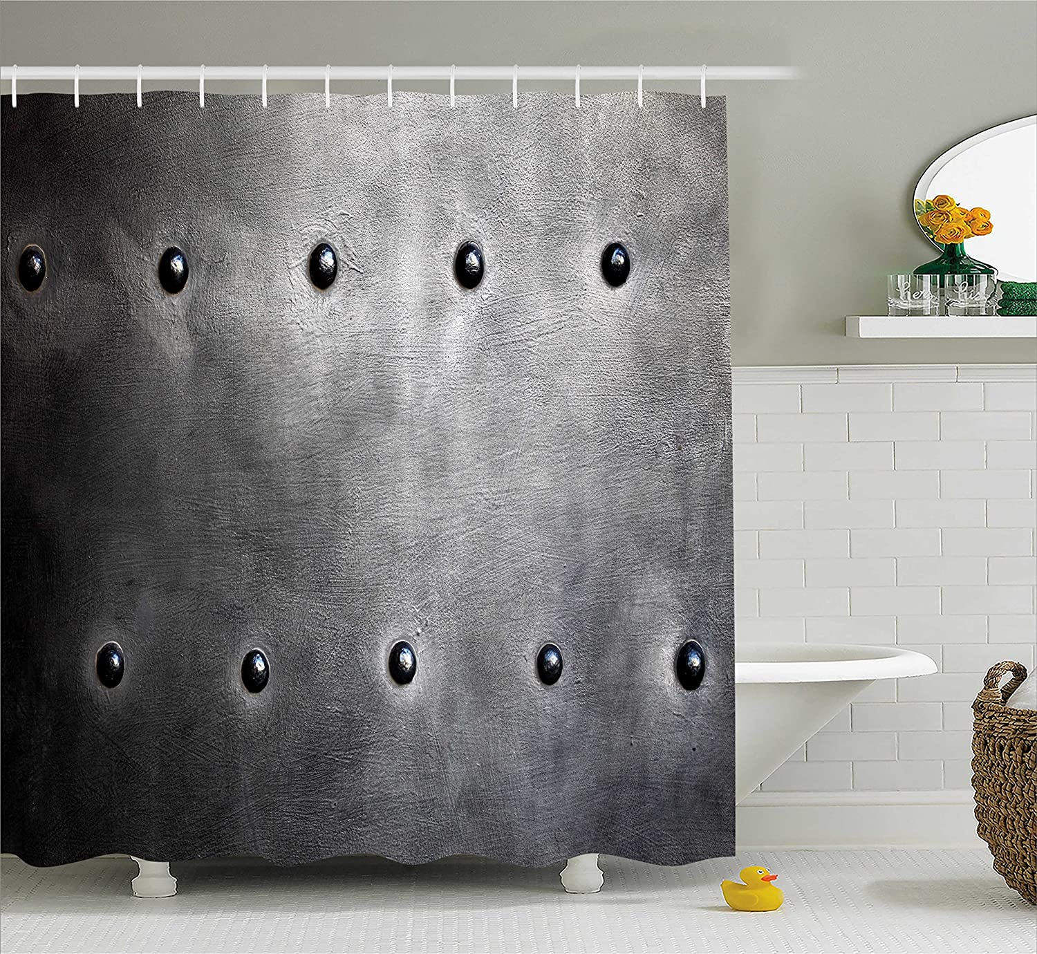 Ambesonne Industrial Shower Curtain Black Grunge Plate Armour Digital Print With Rivets Theme Fabric Bathroom Decor Set Hooks