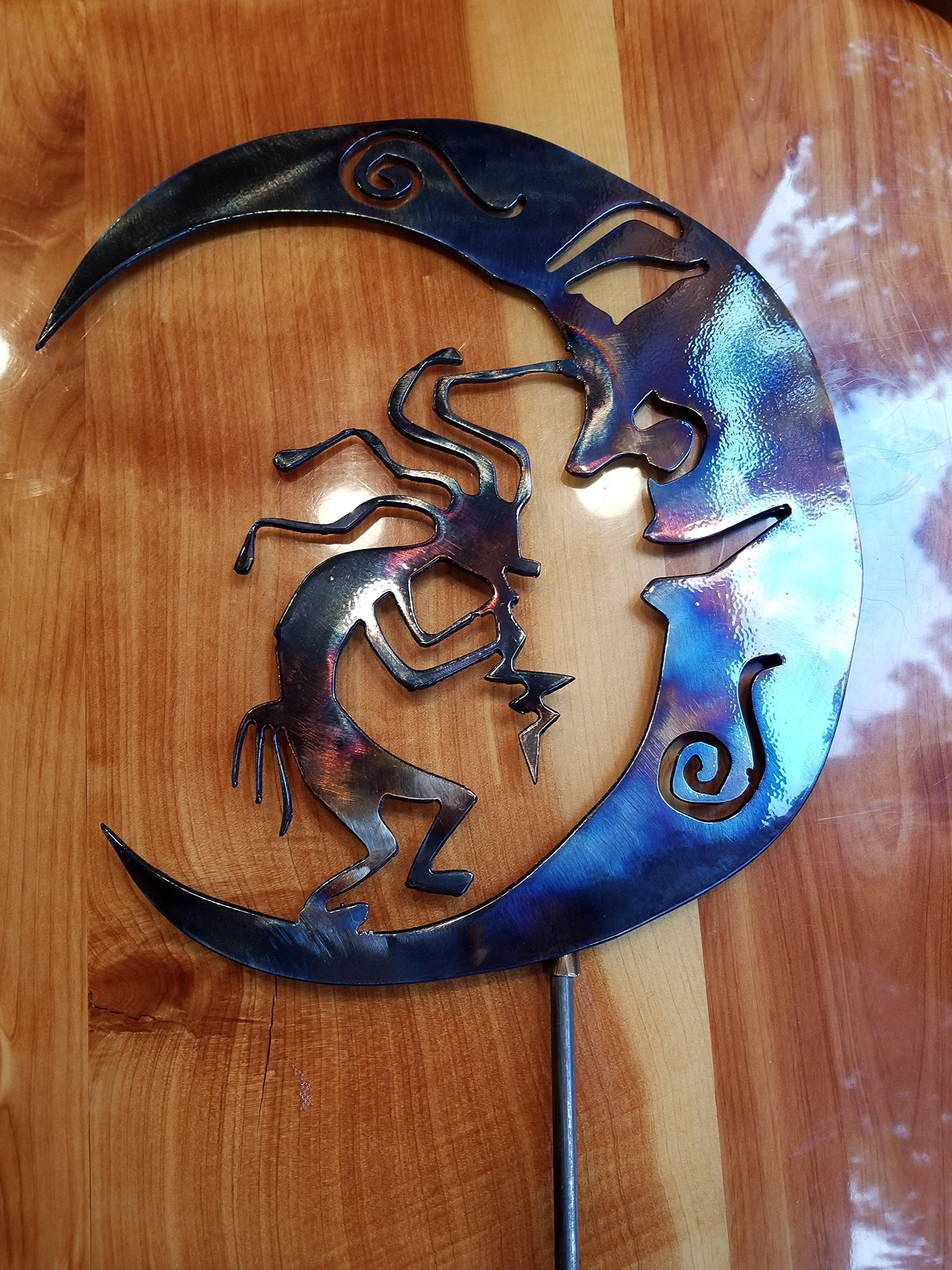 Kokopelli Moon/9w x 10 1/8h/quality metal art/14 ga steel