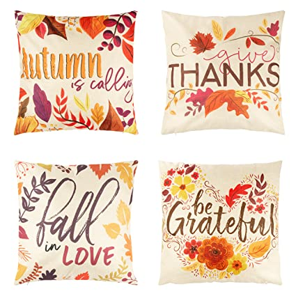 Juvale Thanksgiving Throw Pillow Covers - 4-Pack Colorful Decorative Couch Throw Pillow Cases, Autumn Fall Foliage Harvest Design, Country Style Home Decor Cushion Covers, Fits 18 x 18 Pillows best autumn throw pillows