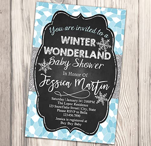 Amazon Com Winter Wonderland Baby Shower Invitation