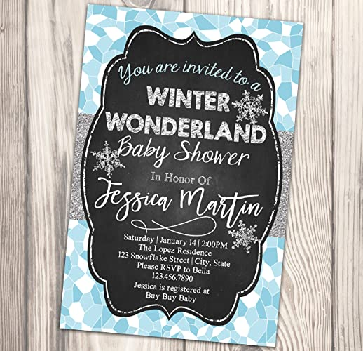 Winter Wonderland Baby Shower Invitation   Snowflake Baby Sprinkle Invite    Diaper Party   4x6