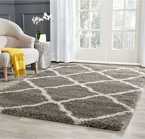 Safavieh Belize Shag Collection SGB489G Grey and Taupe Area Rug 8 x 10