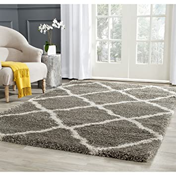 Safavieh Belize Shag Collection SGB489G Grey And Taupe Area Rug, 8 Feet By  10 Feet