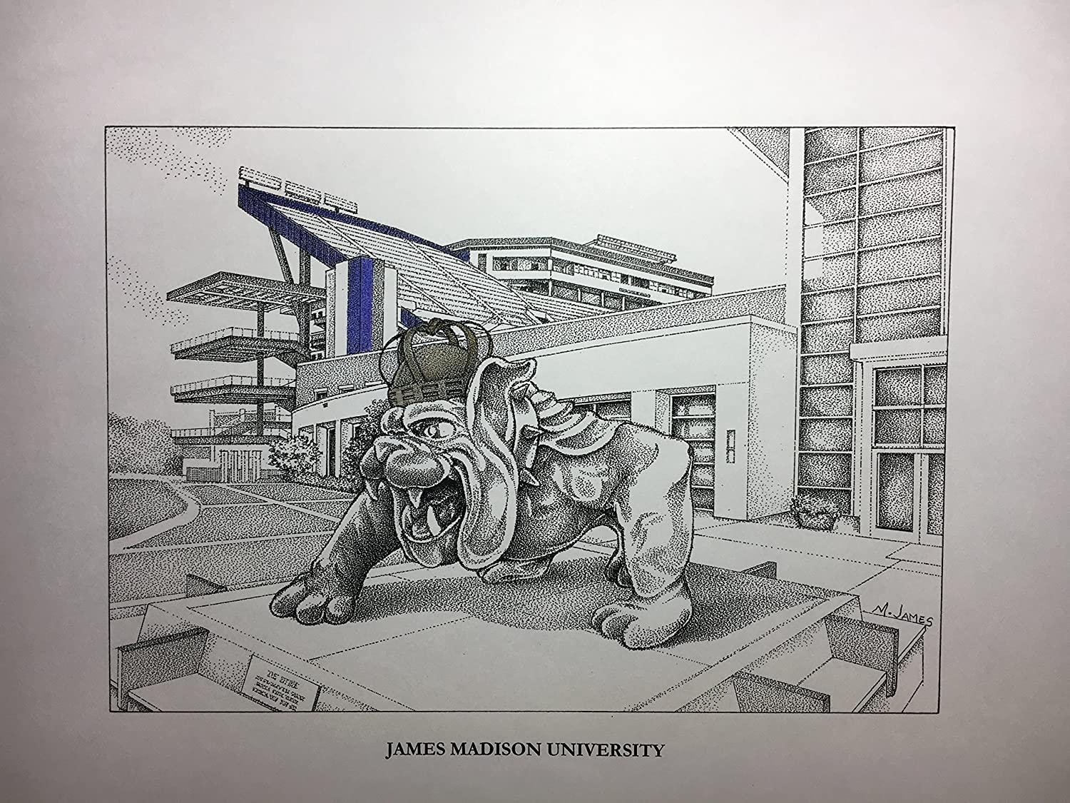 James Madison football stadium with duke statue 11'x14' hand-drawn pen and ink print