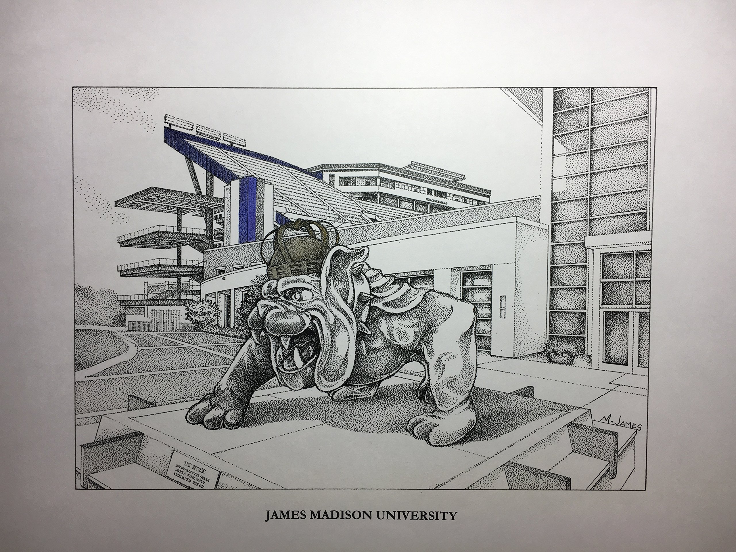 James Madison football stadium with duke statue 11''x14'' hand-drawn pen and ink print