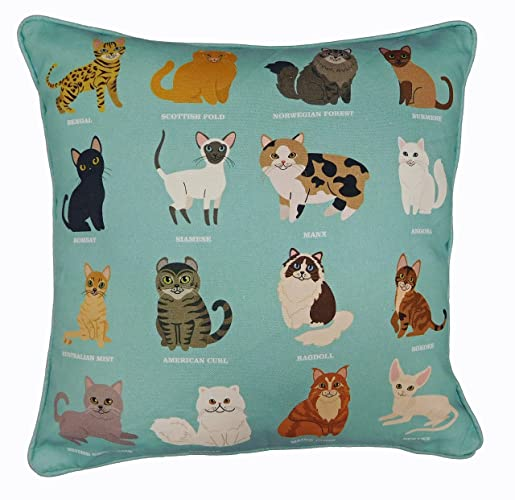 Royal Cats Unique Design Cushion Cover Cat Breeds Sea Green