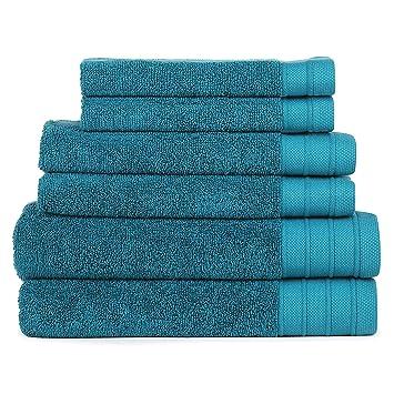 SweetNeedle - Juego de toallas Eco-Organic de 6 piezas, verde azulado - 2