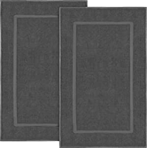Utopia Towels Cotton Banded Bath Mats 2 Pack (21 x 34 inches), Dark Grey