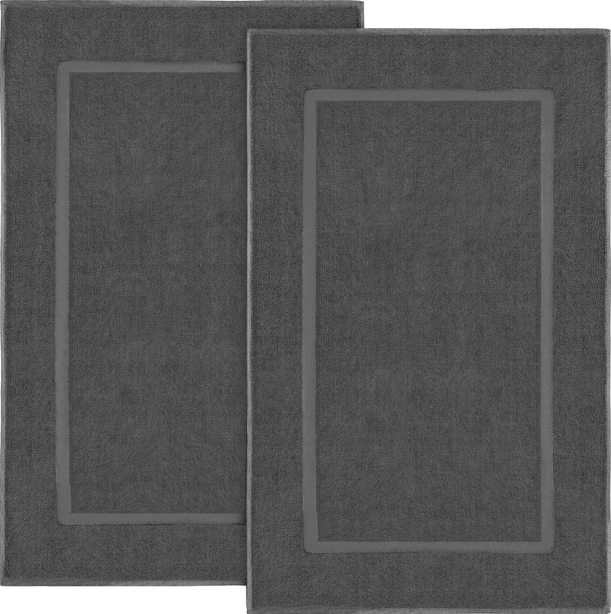 Utopia Towels Cotton Banded Bath Mats 2 Pack (21 x 34 inches), Dark Grey by Utopia Towels
