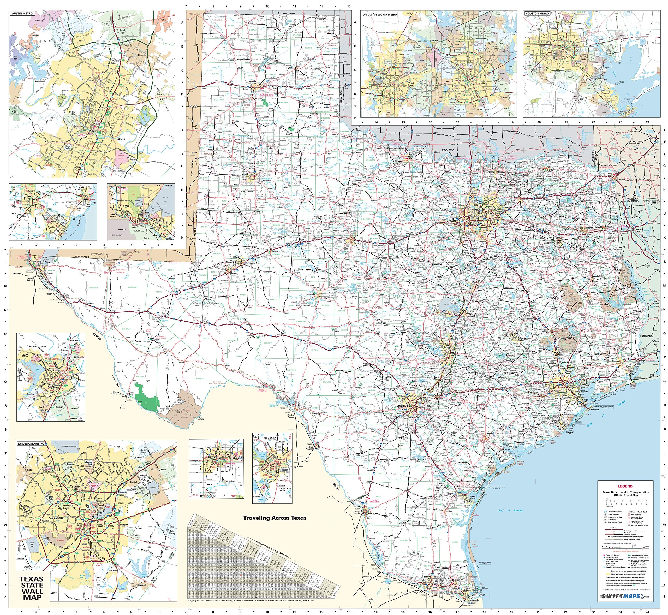 36x48 Texas State Official Executive Laminated Wall Map by Swiftmaps.com