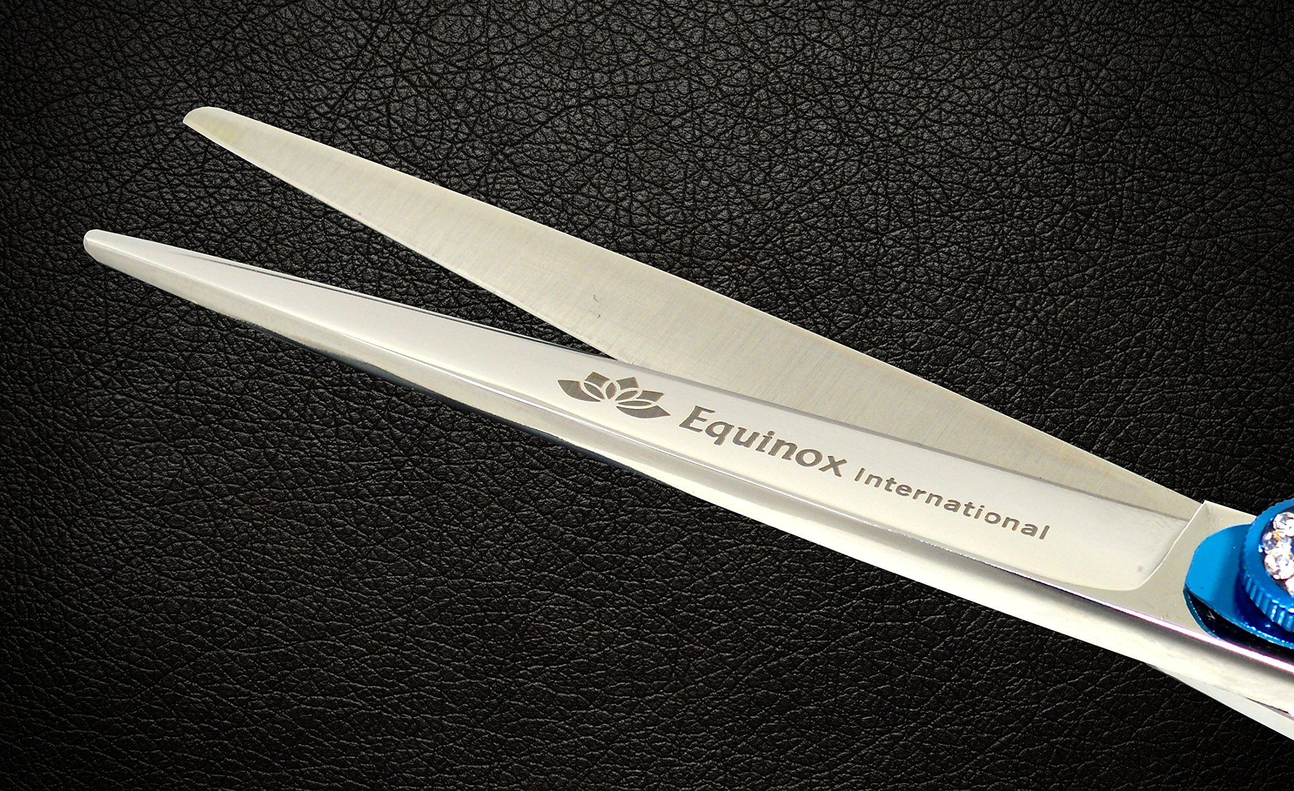 Equinox Professional Razor Edge Series - Barber Hair Cutting Scissors/Shears - 6.5'' Overall Length - Beautiful White Diamond Stones with Blue Chromium Fine Adjustment Tension Screw by Equinox International (Image #3)