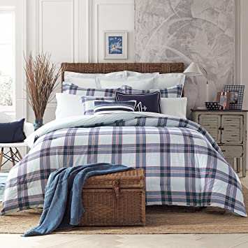 sharpen bed wid comforter bath prod hei plaid alternative home cannon p blue op down
