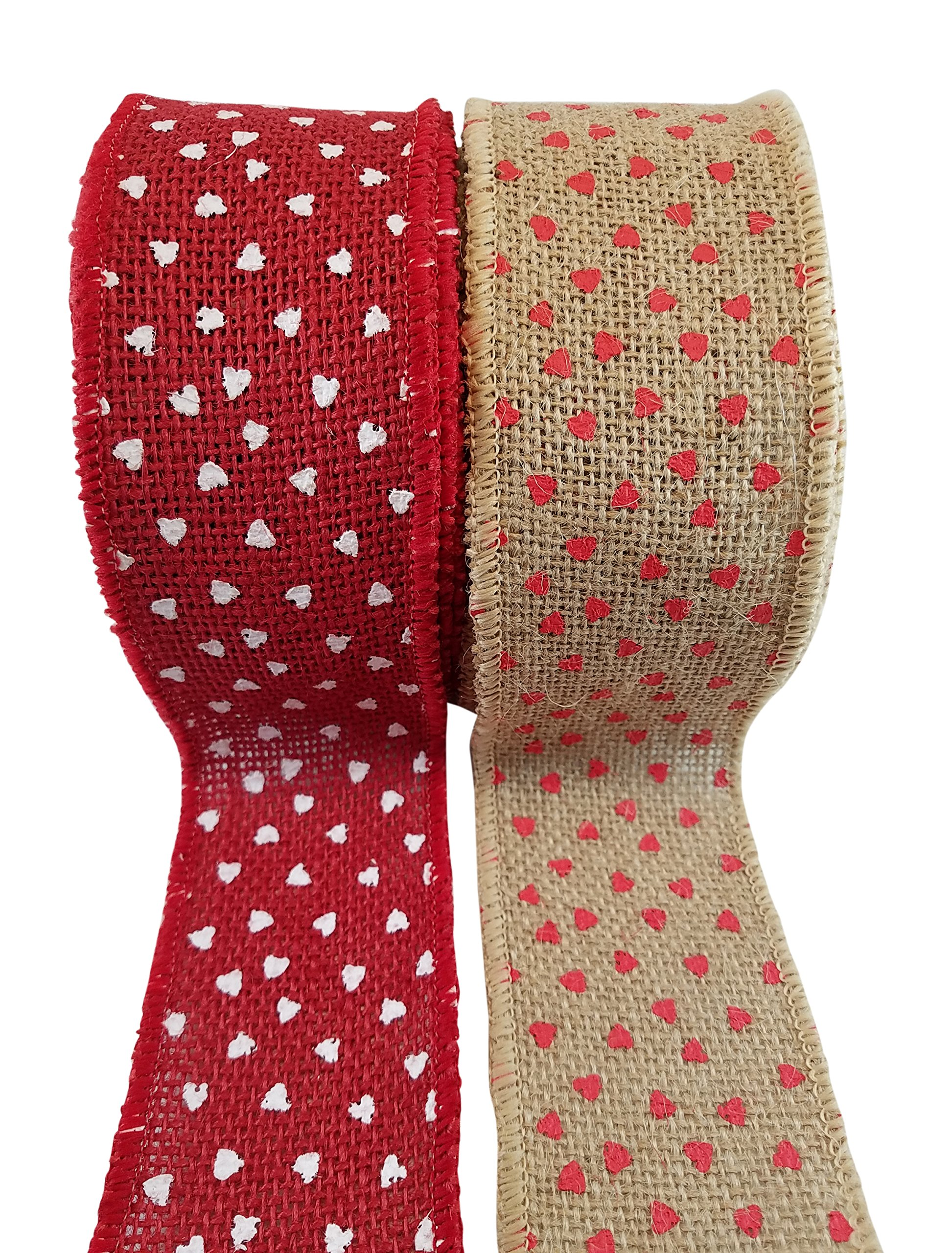 "Heart Printed Burlap Ribbon with Wired Edge – Red Hearts on Natural and White Hearts on Red – 2 Rolls, Each 2.5"" x 10 Yards"