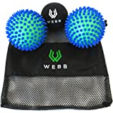 Spiky Massage Ball Set by Webb Compression - Includes 3 Massage Balls - Plantar Fasciitis, Foot, Back, Neck, Deep Tissue Massage, Myofascial Trigger Point Therapy - FREE EBOOK