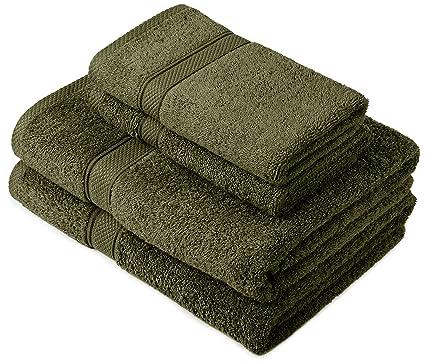 Pinzon by Amazon - Juego de toallas de algodón egipcio (2 toallas de baño y 2 toallas de manos), color verde: Amazon.es: Hogar