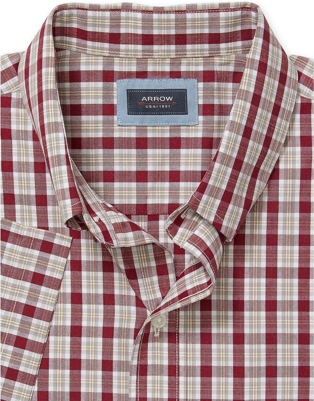 Arrow 1851 Mens Hamilton Poplins Short Sleeve Button Down Plaid Shirt
