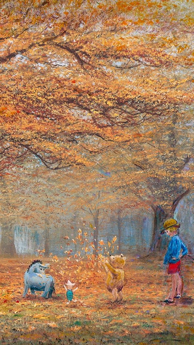 ディズニー ザ ジョイ オブ オータイム リーブス iPhoneSE/5s/5c/5(640×1136)壁紙画像