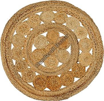 Natural Jute Round Rug Indian Handmade Handwoven Rug Indian Braided Floor Rug Handmade Jute Rug 3x4/' Feet Floor Rug Ribbed Solid Area Rugs