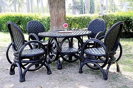 DeDzines Handcrafted Unique Dining Set (Matte, Black) for Home Décor/Office/Garden/Corporates/Restaurant/Hotels
