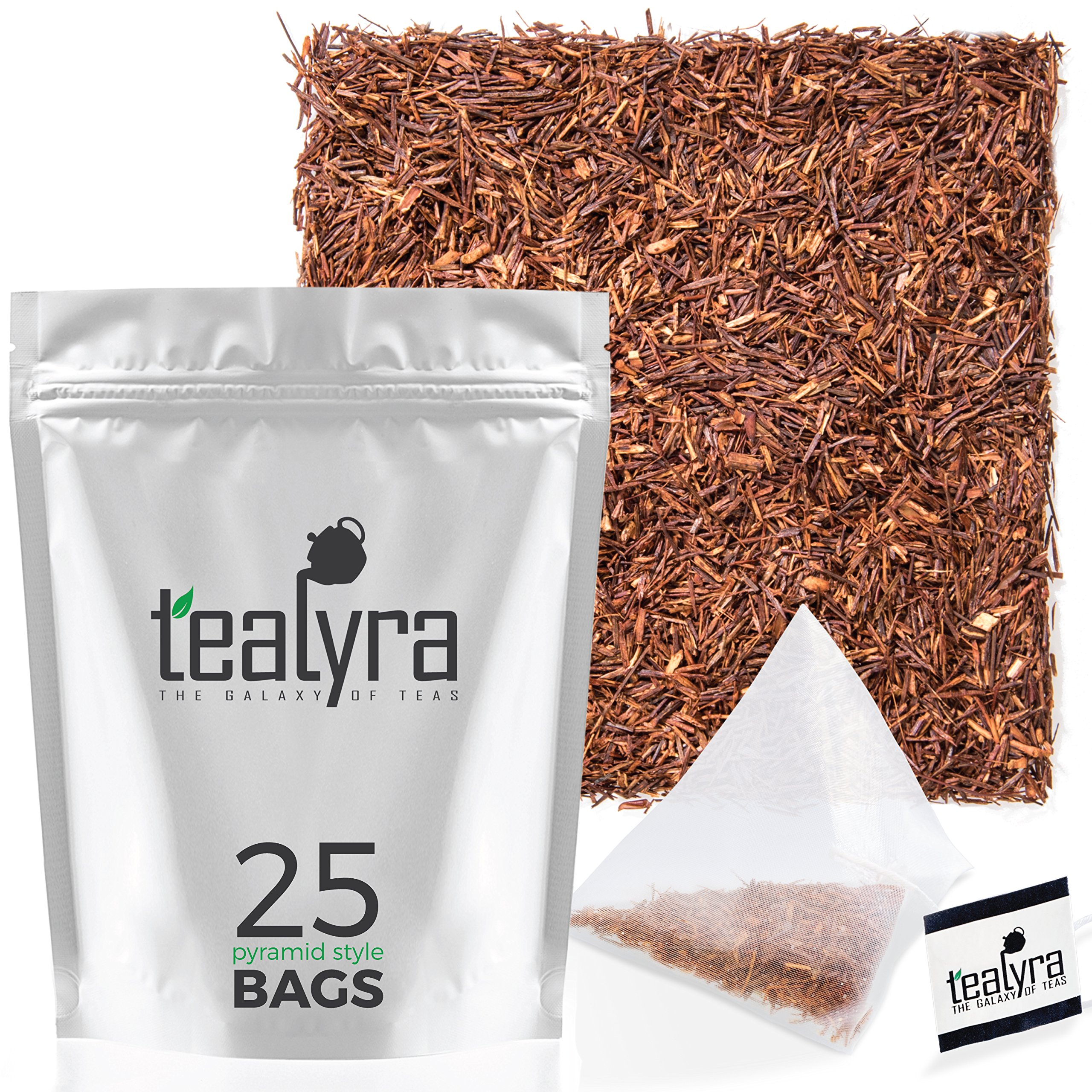 Tealyra - Pure Rooibos - 25 Bags - African Red Bush Herbal Loose Leaf Tea - Antioxidants Rich - Relax - Low Blood Pressure - Kids Welcome - Caffeine-Free - Pyramids Style Sachets