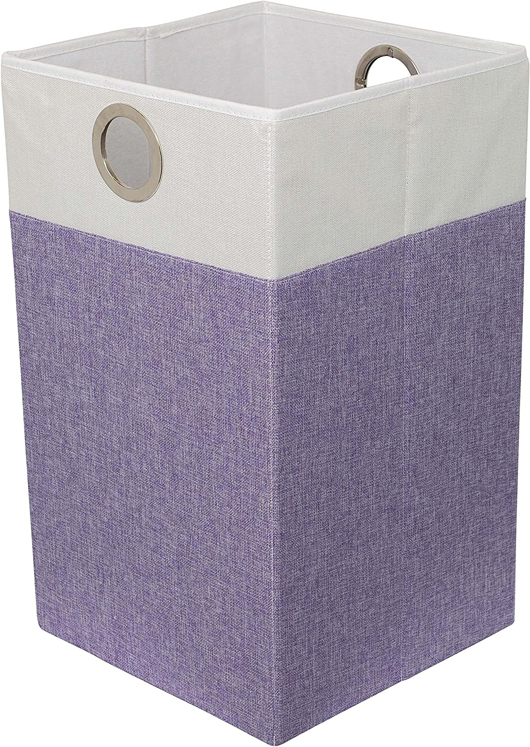 BIRDROCK HOME Folding Cloth Laundry Hamper with Handles - Dirty Clothes Sorter - Easy Storage - Collapsible - Purple and White