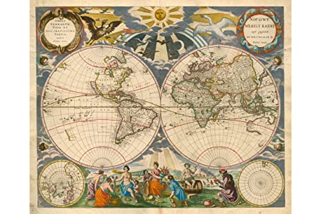 Amazoncom Historic World Map Orbis Terrarum Nova Pieter Goos - 17th century world map
