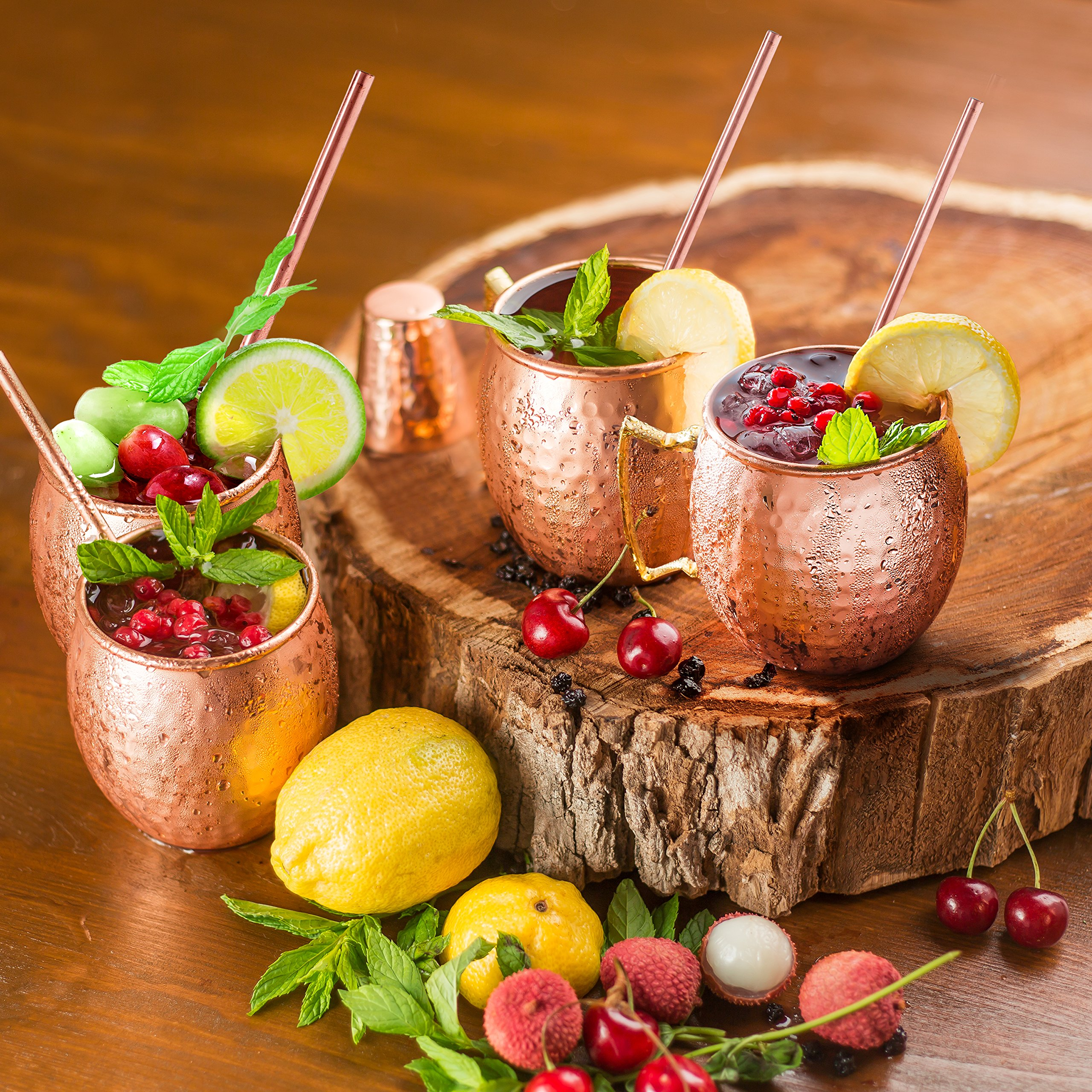 Moscow Mule Mugs 100% Solid Copper, Hammered, Gift Set of 4, No Nickel - Food Safe, 16oz, BONUS: 4 Straws + 1 Shot Glass & 2 E-Books by Copper-Bar by Copper-Bar (Image #6)