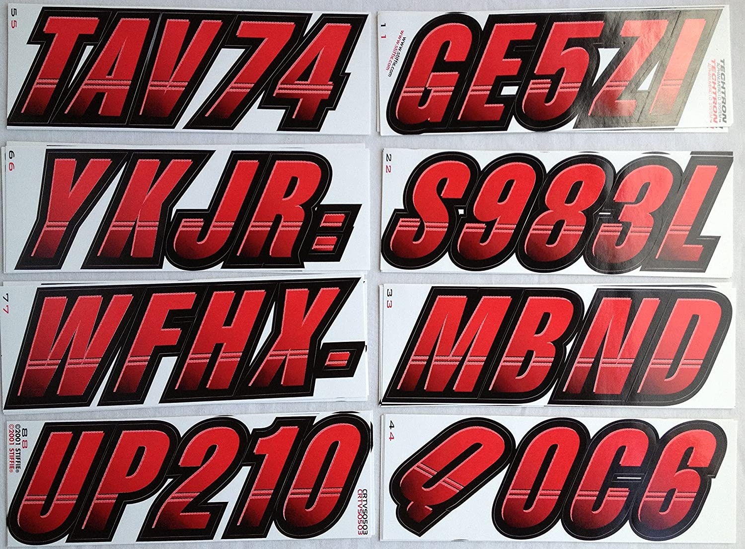 STIFFIE Techtron Red//Black 3 Alpha-Numeric Registration Identification Numbers Stickers Decals for Boats /& Personal Watercraft