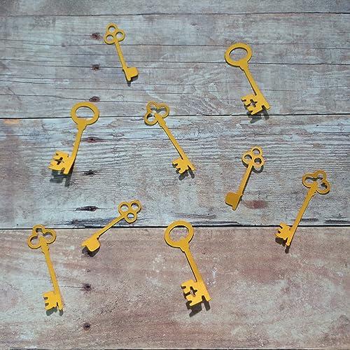 1in Key Confetti Set, Key Confetti, Vintage Theme, Key Decorations, Key Cut