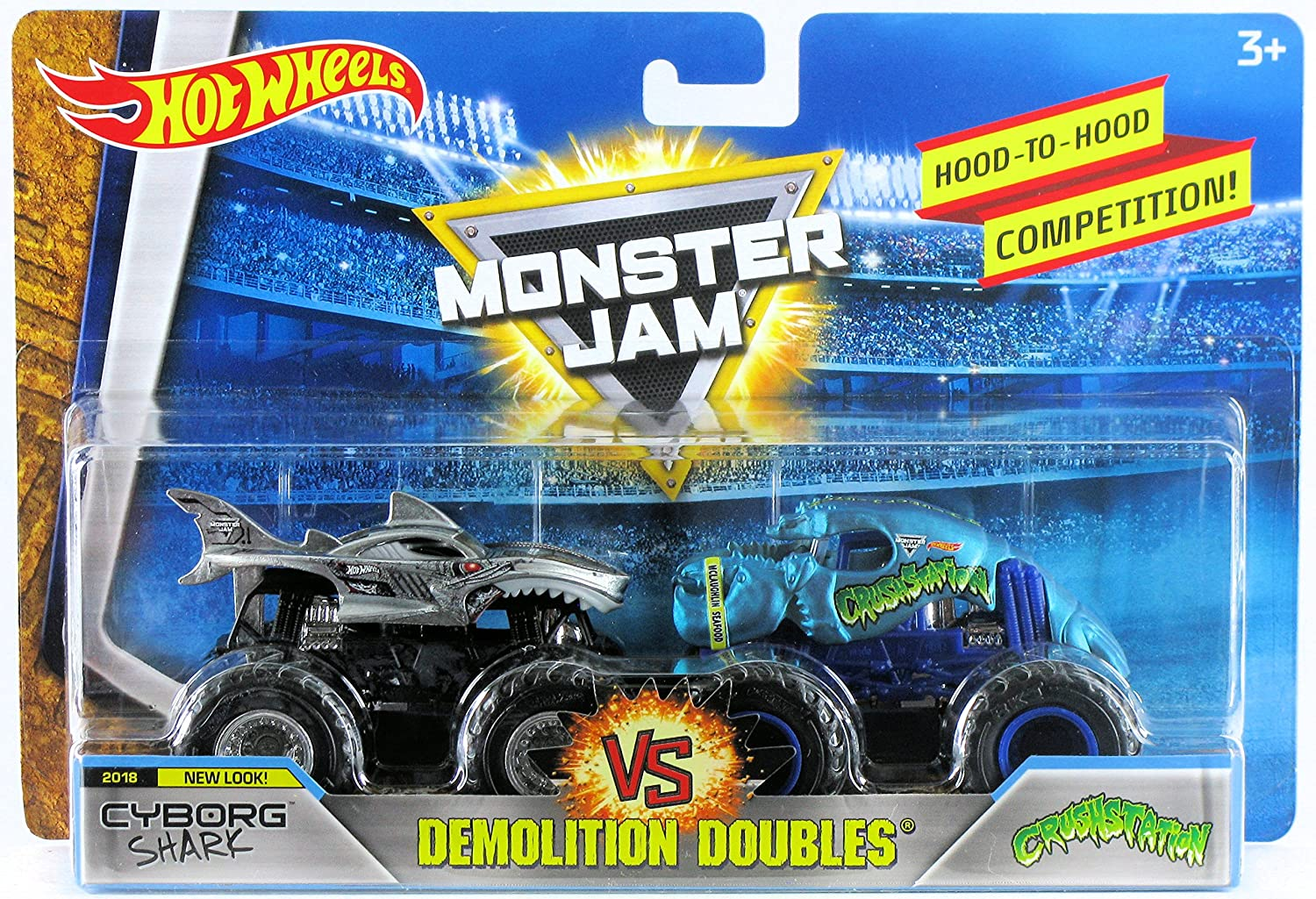 Amazon Com Hot Wheels Monster Jam 1 64 Demolition Doubles 2018 New Look Cyborg Shark Vs Crushstation Toys Games