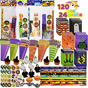 JOYIN 120 Pieces 24 Prepacked Assorted Halloween Themed Stationery Sets Trick or Treat Price Halloween Party Favor Toy Including Halloween Notepads, Pencils, Erasers, Rulers and Stickers