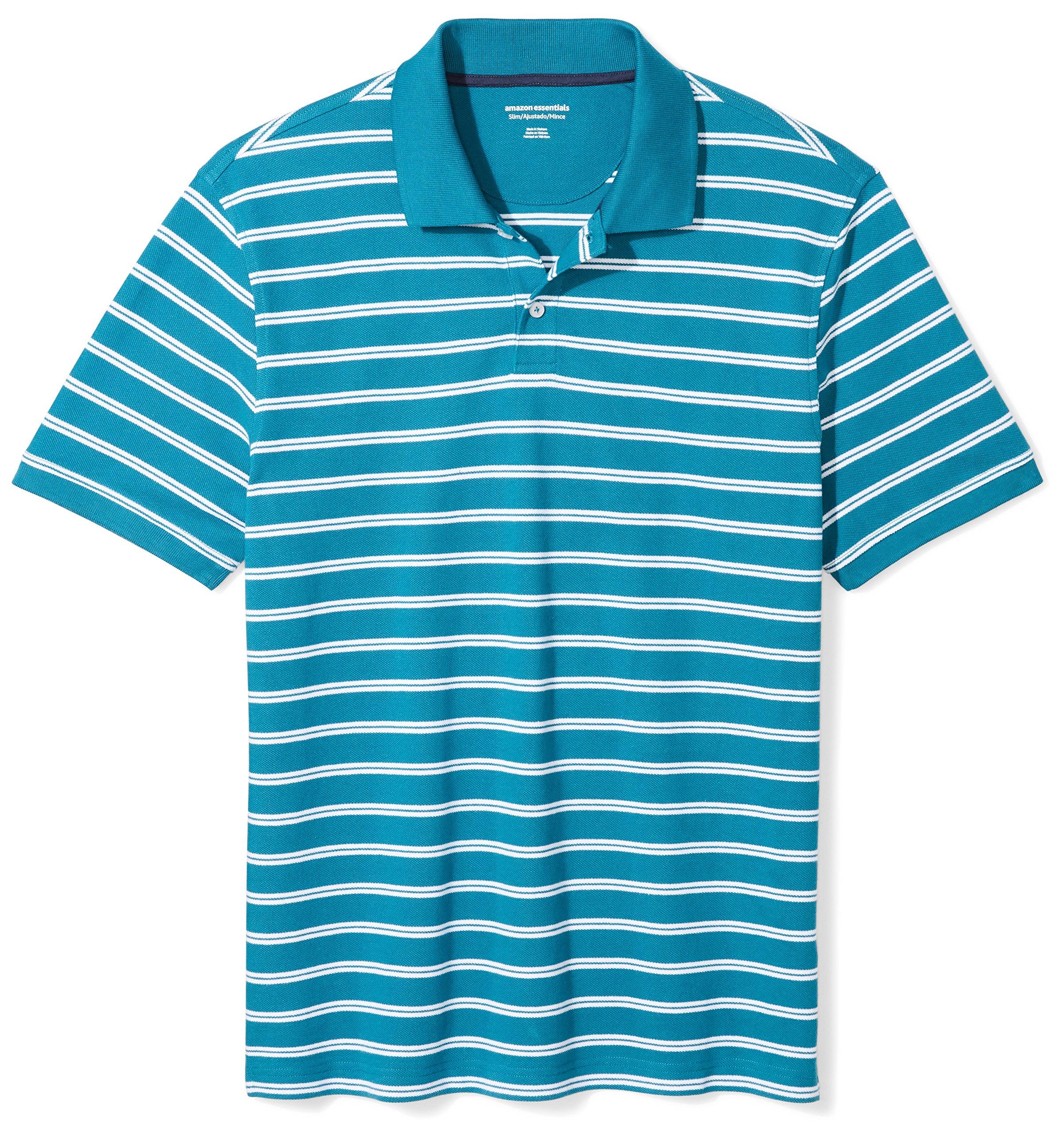 Amazon Essentials Men's Slim-Fit Striped Cotton Pique Polo Shirt, Teal Stripe, XX-Large