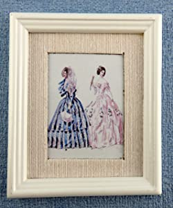 Melody Jane Dolls Houses House Miniature Accessory Summer Fashion Picture Painting White Frame