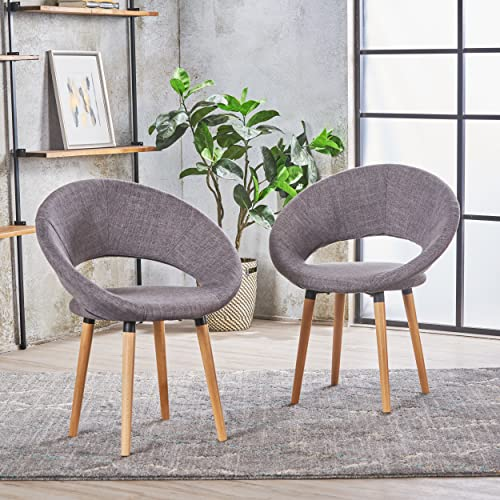 Christopher Knight Home 301200 Kagan Fabric Modern Dining Chair Set of 2 Light Grey