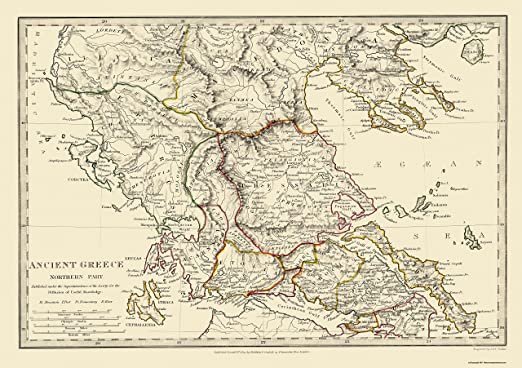Amazon Com Maps Of The Past Ancient Greece Northern Chapman 1829 32 63 X 23 Glossy Satin Paper Posters Prints