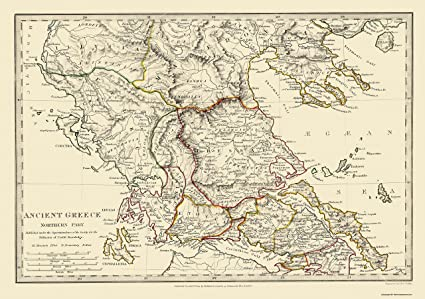 Amazon Com Old Greece Map Northern Part Ancient Greece 1844