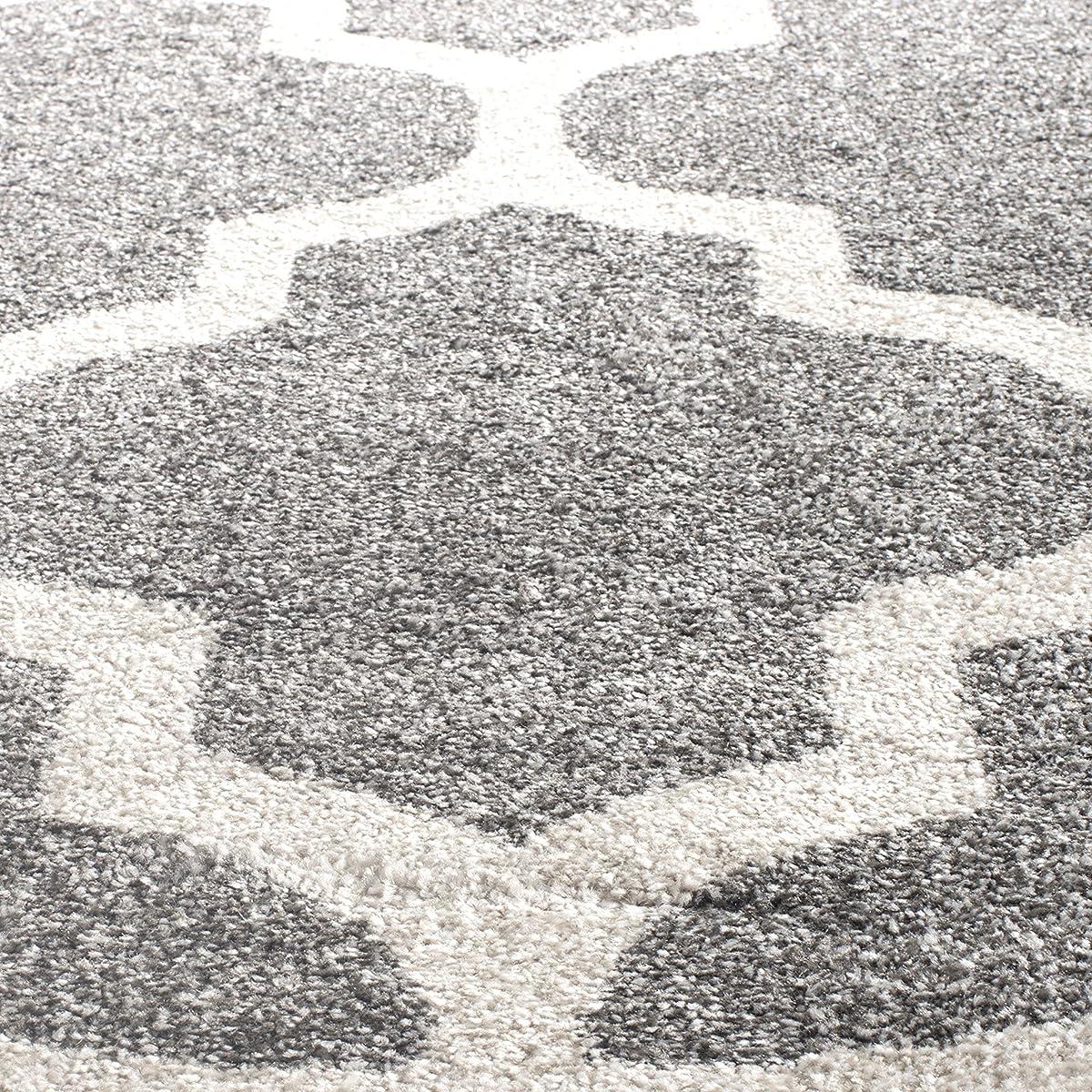 Safavieh Amherst Collection AMT420R Dark Grey and Beige Indoor/ Outdoor Round Area Rug (5 Diameter)