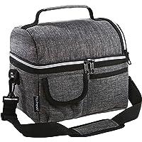 Fit & Fresh Skywide - Bolsa térmica pequeña con cierre de cierre y correa de hombro acolchada ajustable, color gris