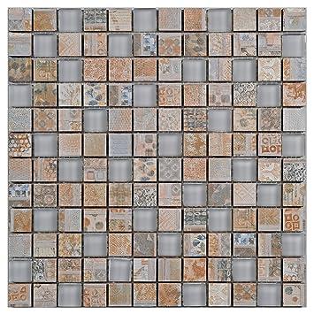 Glasmosaik Fliesen Retro Beige Wand Boden Dusche Wc Kuche 10