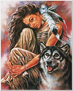 Indian Maiden and Wolf Native American Wall Decor Art Print Poster (16x20)