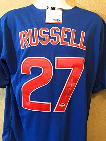 eb372326a ... discount addison russell chicago cubs signed autograph mlb majestic  jersey psa dna certified a6f23 3b859