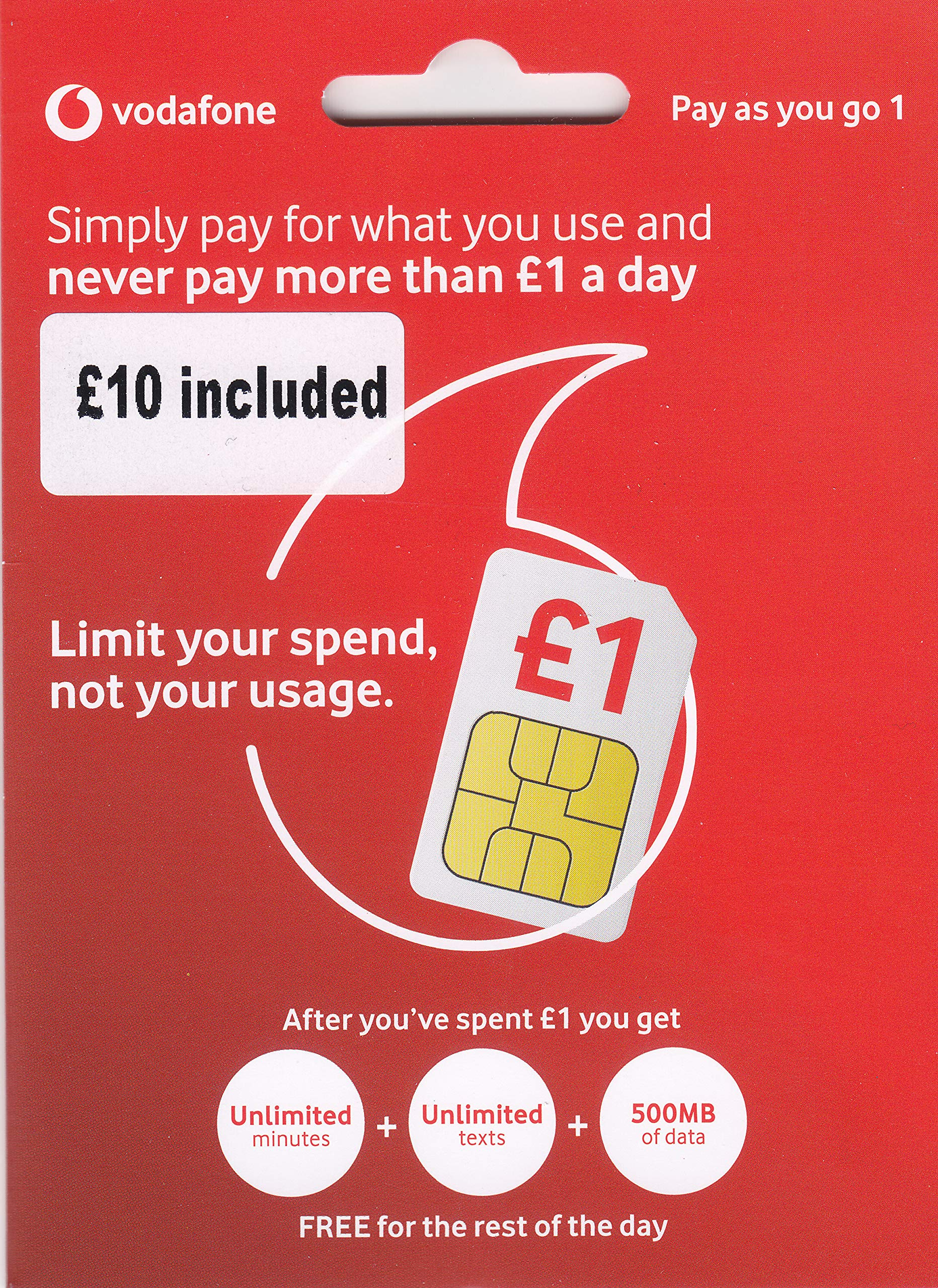 UK Vodafone SIM Card with £10 Credit preloaded, 4G Data, Voice mins and Texts to use in Europe and The UK by Vodafone